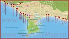 Туристическая карта побережья Алании с отелями и достопримечательностями