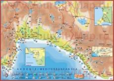 Туристическая карта побережья Анталии с окресностями