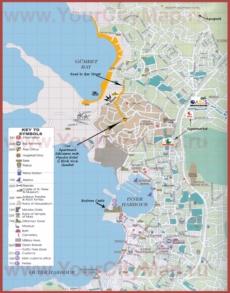 Подробная туристическая карта города Бодрум