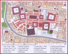 Карта центра Бурсы с достопримечательностями