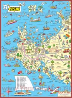 Туристическая карта Чешме с окрестностями