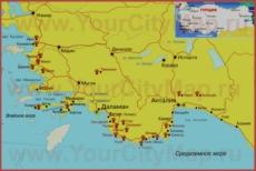 Туристическая карта побережья Даламана с окрестностями