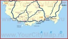 Карта побережья Демре с окрестностями