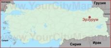 Эрзурум на карте Турции