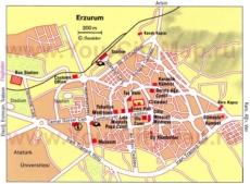 Карта центра Эрзурума с достопримечательностями