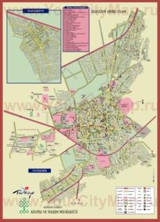 Подробная туристическая карта города Эрзурум с отелями