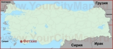 Фетхие на карте Турции