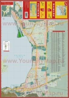 Подробная туристическая карта города Фетхие с отелями