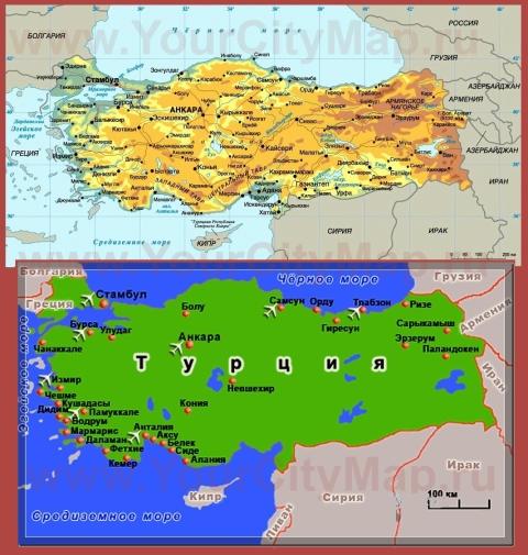 Города Турции на карте