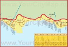 Карта побережья Гёйнюка с отелями