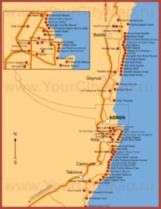 Карта курортов побережья Кемера с отелями