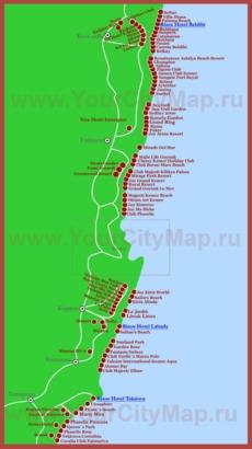 Карта отелей Кемера на русском языке