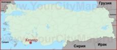 Кемер на карте Турции