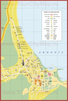 Подробная туристическая карта города Кемер с достопримечательностями