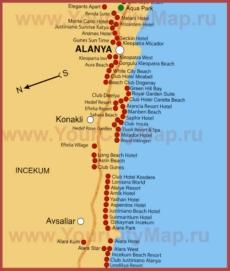 Карта отелей Конаклы