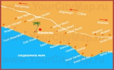 Туристическая карта Конаклы с отелями