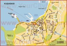 Туристическая карта Кушадас с достопримечательностями