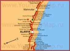 Карта отелей Махмутлара