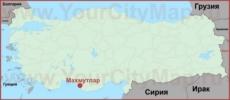 Махмутлар на карте Турции