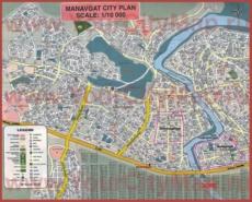 Подробная туристическая карта города Манавгат