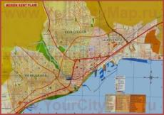 Подробная туристическая карта города Мерсин с отелями и достопримечательностями