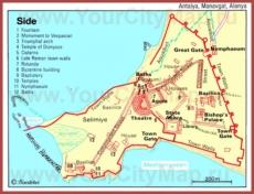 Карта центра Сиде с достопримечательностями