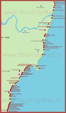 Карта побережья Сиде с курортами и отелями