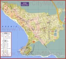 Подробная туристическая карта города Сиде