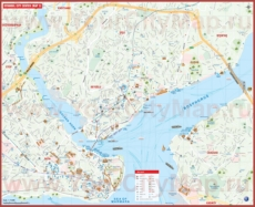 Подробная туристическая карта города Стамбул с достопримечательностями