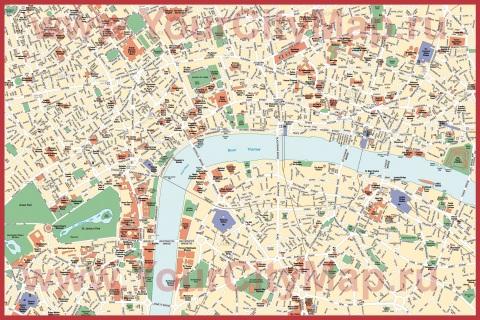 Подробная карта Лондона с достопримечательностями
