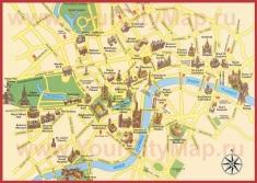 Туристическая карта центра Лондона с достопримечательностями