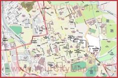 Карта города Оксфорд с отелями и колледжами