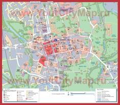 Подробная карта Оксфорда с достопримечательностями